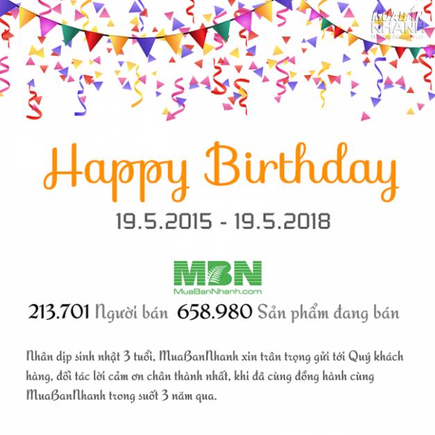 Khuyến mãi tưng bừng mừng sinh nhật MuaBanNhanh 3 tuổi